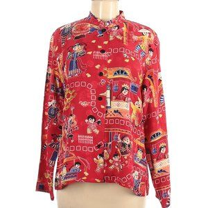 Chicos Design Red Size 2 Asian Print Silk Blouse